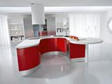 Cucina curva laccata rossa
