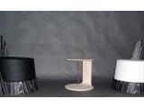 Poltrona curva, tavolino curvo spessore sottile, multistrato legno
