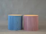 Pouf colorati in legno<br /> Pouf rotondi in legno